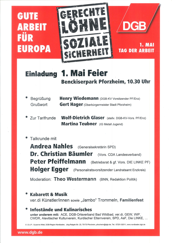 Flyer zum 1. Maifest in Pforzheim
